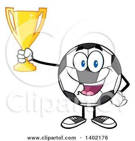 Clipart of a Cartoon Soccer Ball Mascot Character Holding a Trophy - Royalty Free Vector Illustration by Hit Toon