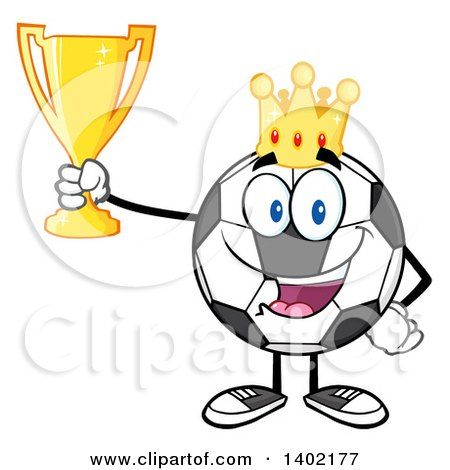 Clipart of a Cartoon Soccer Ball Mascot Character Wearing a Crown and Holding a Trophy - Royalty Free Vector Illustration by Hit Toon