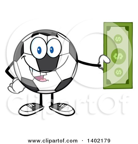 Clipart of a Cartoon Soccer Ball Mascot Character Holding Cash Money - Royalty Free Vector Illustration by Hit Toon