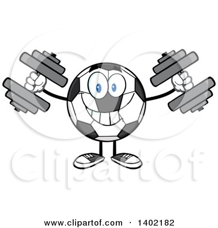 Clipart of a Cartoon Soccer Ball Mascot Character Working out with Dumbbells - Royalty Free Vector Illustration by Hit Toon