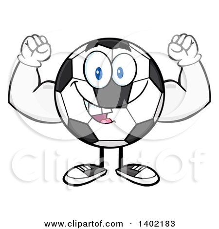 Clipart of a Cartoon Soccer Ball Mascot Character Flexing His Muscles - Royalty Free Vector Illustration by Hit Toon