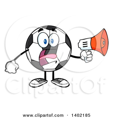 Clipart of a Cartoon Soccer Ball Mascot Character Using a Megaphone - Royalty Free Vector Illustration by Hit Toon