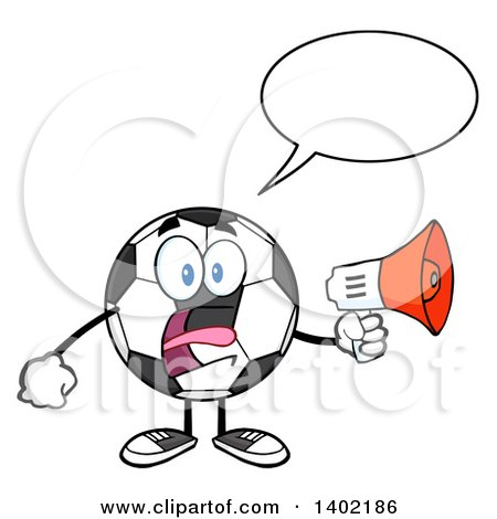 Clipart of a Cartoon Soccer Ball Mascot Character Screaming into a Megaphone - Royalty Free Vector Illustration by Hit Toon