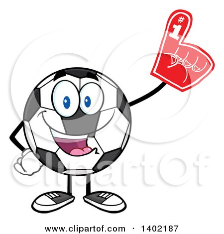 Clipart of a Cartoon Soccer Ball Mascot Character Wearing a Foam Finger - Royalty Free Vector Illustration by Hit Toon