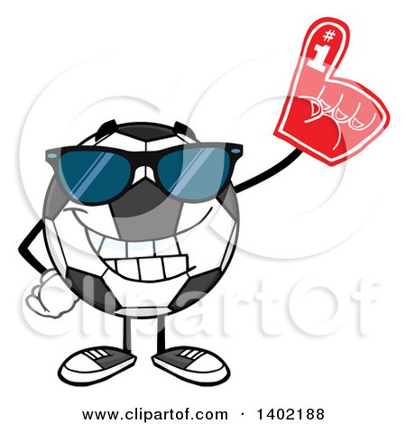 Clipart of a Cartoon Soccer Ball Mascot Character Wearing Sunglasses and a Foam Finger - Royalty Free Vector Illustration by Hit Toon