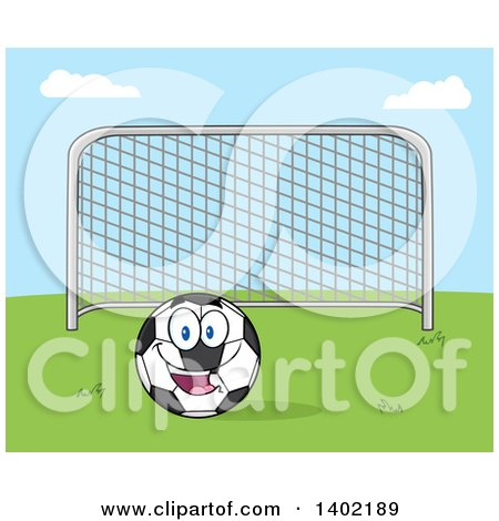 Clipart of a Cartoon Soccer Association Football Goal and Soccer Ball Character Mascot on Grass Against Blue Sky - Royalty Free Vector Illustration by Hit Toon