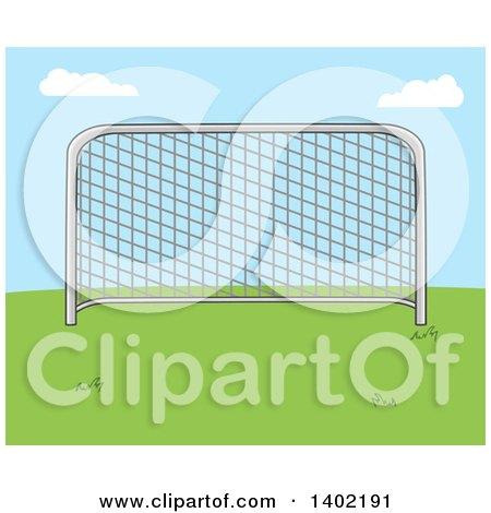 Clipart of a Cartoon Soccer Association Football Goal on Grass Against Blue Sky - Royalty Free Vector Illustration by Hit Toon