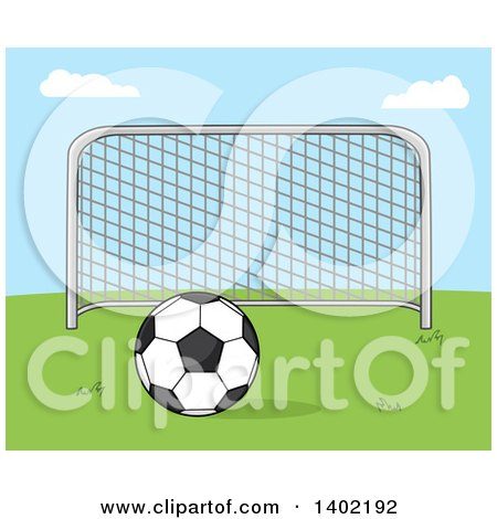 Clipart of a Cartoon Soccer Association Football Goal and Soccer Ball on Grass Against Blue Sky - Royalty Free Vector Illustration by Hit Toon
