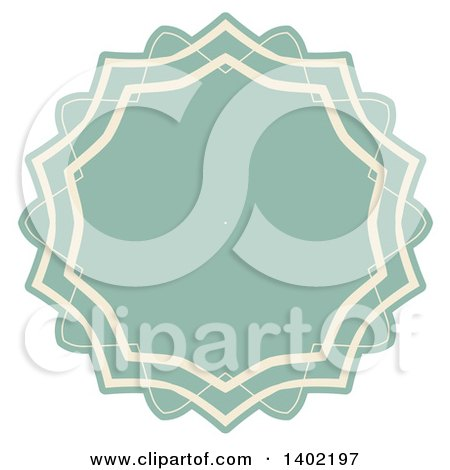 Clipart of a Beige and Turquoise Fancy Round Label Design Element - Royalty Free Vector Illustration by KJ Pargeter