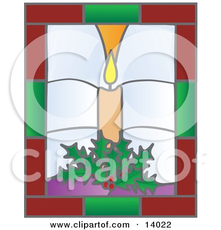 Christmas Stained Glass Window Of A Lit Candle And Holly Clipart Illustration by Rasmussen Images