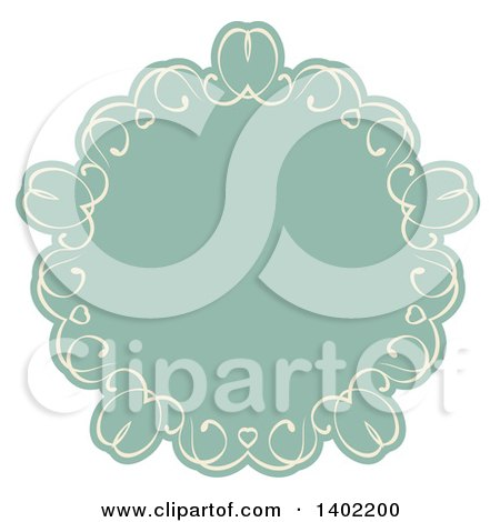 Clipart of a Beige and Turquoise Fancy Round Label Design Element with Hearts - Royalty Free Vector Illustration by KJ Pargeter