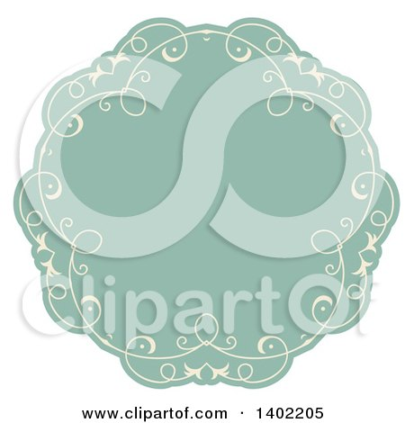 Clipart Of A Beige And Turquoise Fancy Round Label Design Element Royalty Free Vector Illustration