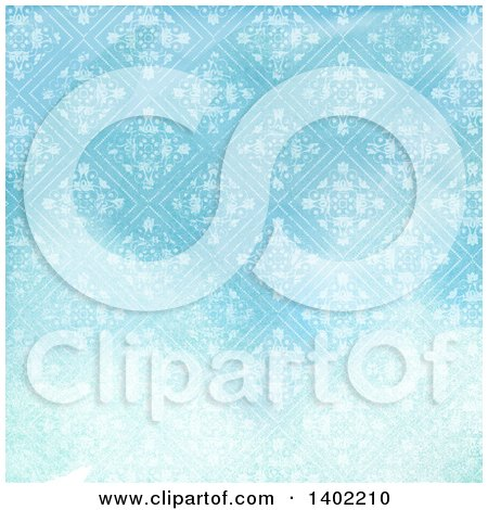 Clipart of a Distressed Blue Floral Diamond Pattern Background - Royalty Free Illustration by KJ Pargeter