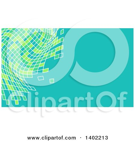 Clipart of a Turquoise Business Card Design with Abstract Green and Turquoise Tiles - Royalty Free Vector Illustration by KJ Pargeter