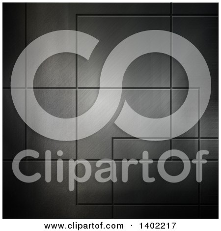 Clipart of a Brushed Metal Tile Background - Royalty Free Illustration by KJ Pargeter