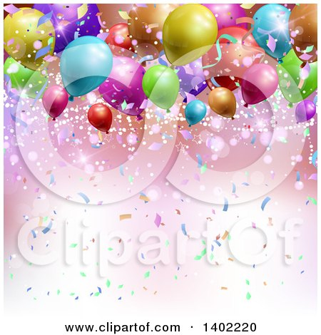 Clipart of a Background of Confetti, Flares and 3d Colorful Party Balloons - Royalty Free Vector Illustration by KJ Pargeter