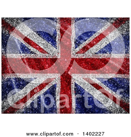 Clipart of a Glittery Union Jack Flag Background - Royalty Free Illustration by KJ Pargeter