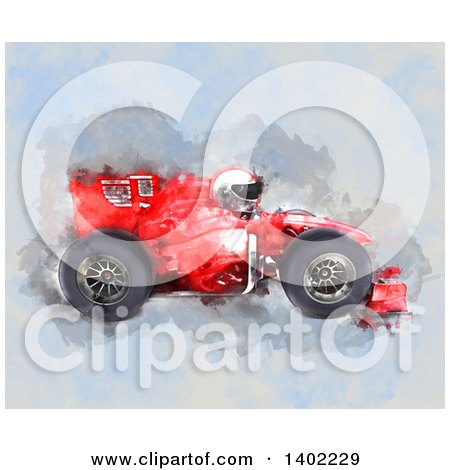 Clipart of a Water Color Painted Race Car and Driver - Royalty Free Illustration by KJ Pargeter