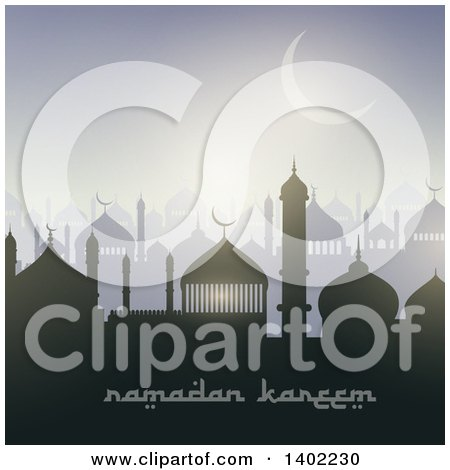 Clipart of a Ramadan Kareem Background with a Silhouetted Mosque, Text and Moon - Royalty Free Vector Illustration by KJ Pargeter