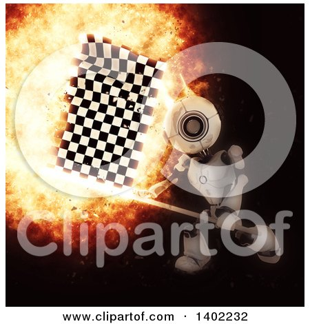 Clipart of a 3d Robot Swinging a Checkered Racing Flag, with a Fiery Explosion, on Black - Royalty Free Illustration by KJ Pargeter