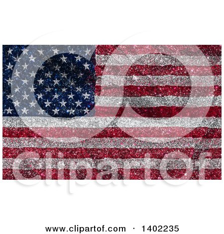 Clipart of a Glittery American Flag Background - Royalty Free Illustration by KJ Pargeter