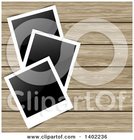 Clipart of Blank Instant Photographs on Wood Panels - Royalty Free Vector Illustration by KJ Pargeter