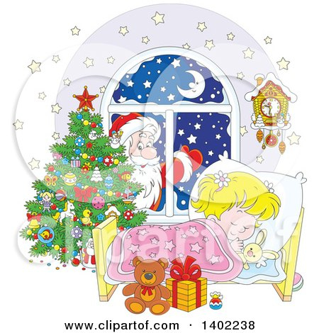 Clipart of a Santa Clause Outside of a Window, with a Blond White Girl Sleeping on Christmas Eve - Royalty Free Vector Illustration by Alex Bannykh