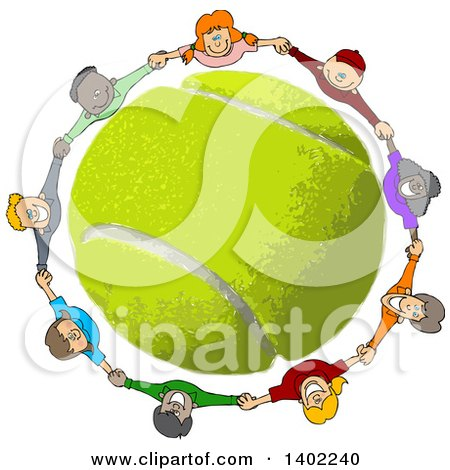 Clipart of a Circle of Happy Children Holding Hands, Looking up and Smiling Around a Tennis Ball - Royalty Free Vector Illustration by djart
