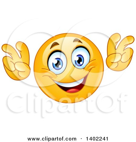 Clipart of a Cartoon Yellow Smiley Face Emoji Emoticon Doing Air Quotes - Royalty Free Vector Illustration by yayayoyo