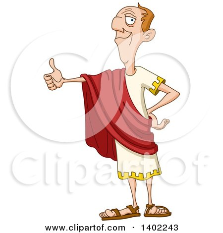 Clipart of a Happy Roman Emperor Giving a Thumb up - Royalty Free Vector Illustration by yayayoyo
