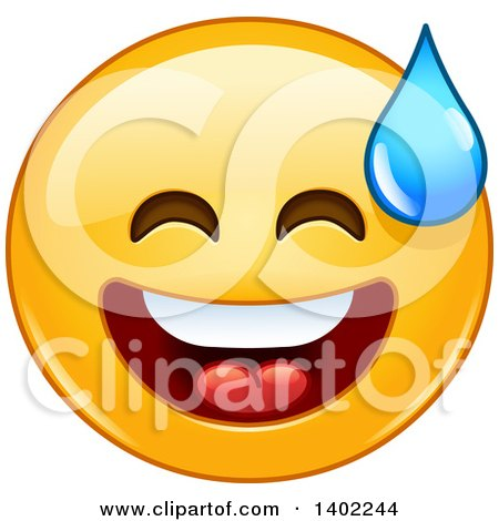 Clipart of a Cartoon Yellow Smiley Face Emoji Emoticon Breaking out into a Cold Sweat - Royalty Free Vector Illustration by yayayoyo