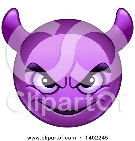 Clipart of a Cartoon Purple Smiley Face Emoji Emoticon with Horns - Royalty Free Vector Illustration by yayayoyo