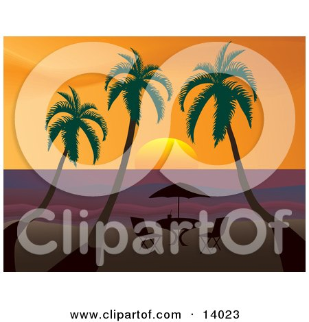 Royalty-Free Travel Clipart Picture Of A Table With An Umbrella Silhouetted On A Beach Under Three Palm Trees At Sunset Posters, Art Prints