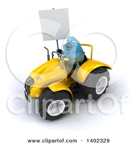 Clipart of a 3d Bluebird Farmer Operating a Tractor, on a White Background - Royalty Free Illustration by Julos