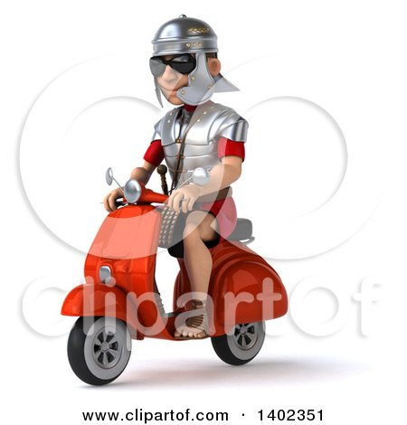 Clipart of a 3d Young Male Roman Legionary Soldier on a Moped Scooter, on a White Background - Royalty Free Illustration by Julos