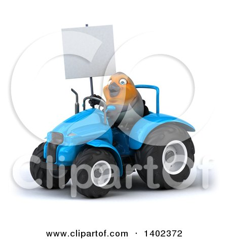 Clipart of a 3d Robin Operating a Tractor, on a White Background - Royalty Free Illustration by Julos