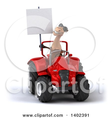 Clipart of a 3d Brown Horse Operating a Tractor, on a White Background - Royalty Free Illustration by Julos