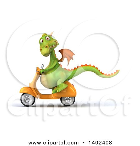 Clipart of a 3d Green Dragon Riding a Scooter, on a White Background - Royalty Free Illustration by Julos
