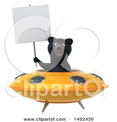 Clipart of a 3d Black Bear Flying a Ufo, on a White Background - Royalty Free Illustration by Julos