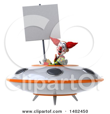 Clipart of a 3d Funky Clown, on a White Background - Royalty Free Illustration by Julos