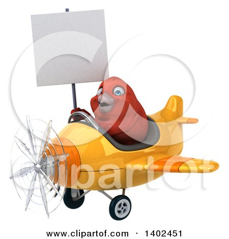 Clipart of a 3d Red Bird Flying a Plane, on a White Background - Royalty Free Illustration by Julos