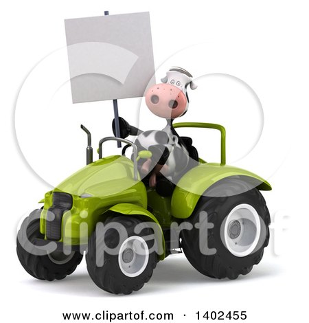 Clipart of a 3d Cow Farmer Operating a Tractor, on a White Background - Royalty Free Illustration by Julos