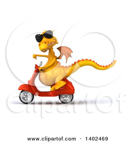 Clipart of a 3d Yellow Dragon Riding a Scooter, on a White Background - Royalty Free Illustration by Julos