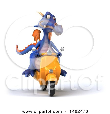 Clipart of a 3d Purple Dragon Riding a Scooter, on a White Background - Royalty Free Illustration by Julos