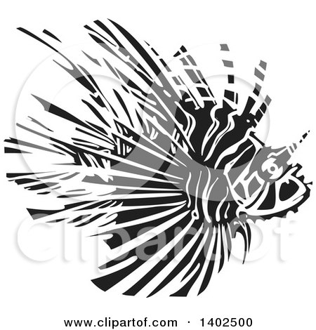 Clipart of a Black and White Woodcut Lionfish - Royalty Free Vector Illustration by xunantunich