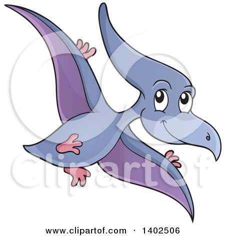 Clipart of a Flying Pterodactyl Dinosaur - Royalty Free Vector Illustration by visekart