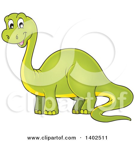 Clipart of a Happy Green Apatosaurus Dinosaur - Royalty Free Vector Illustration by visekart