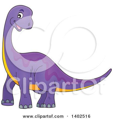 Clipart of a Happy Purple Apatosaurus Dinosaur - Royalty Free Vector Illustration by visekart