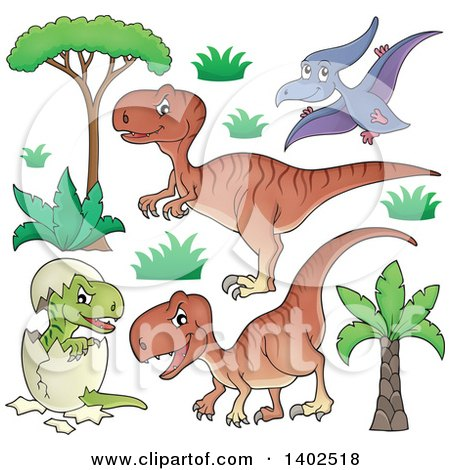 Clipart of Dinosaurs - Royalty Free Vector Illustration by visekart