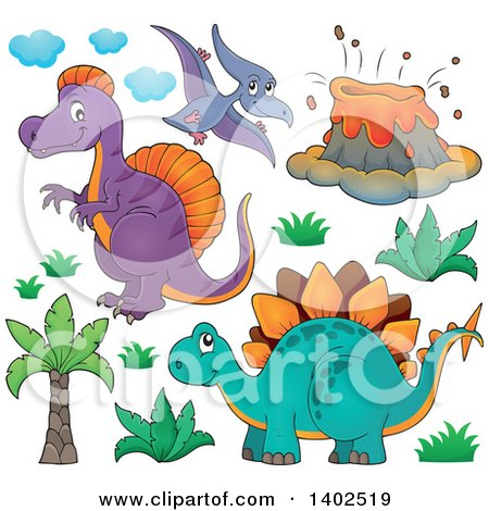 Clipart of Prehistoric Dinosaurs - Royalty Free Vector Illustration by visekart
